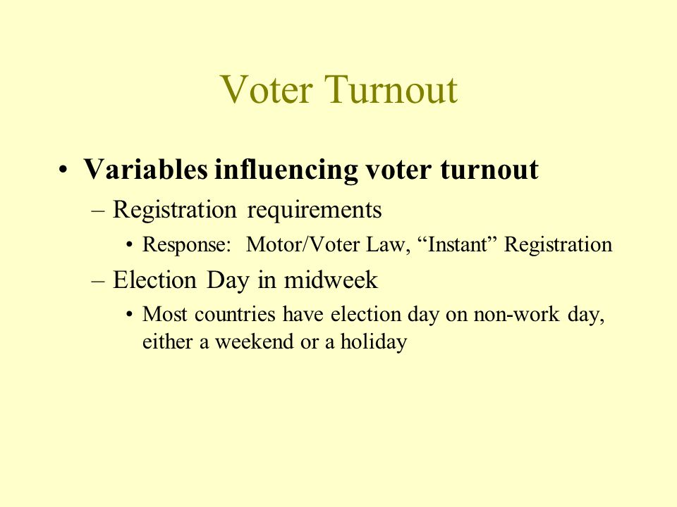 Voter Turnout Variables influencing voter turnout –Registration requirements Response: Motor/Voter Law, Instant Registration –Election Day in midweek Most countries have election day on non-work day, either a weekend or a holiday
