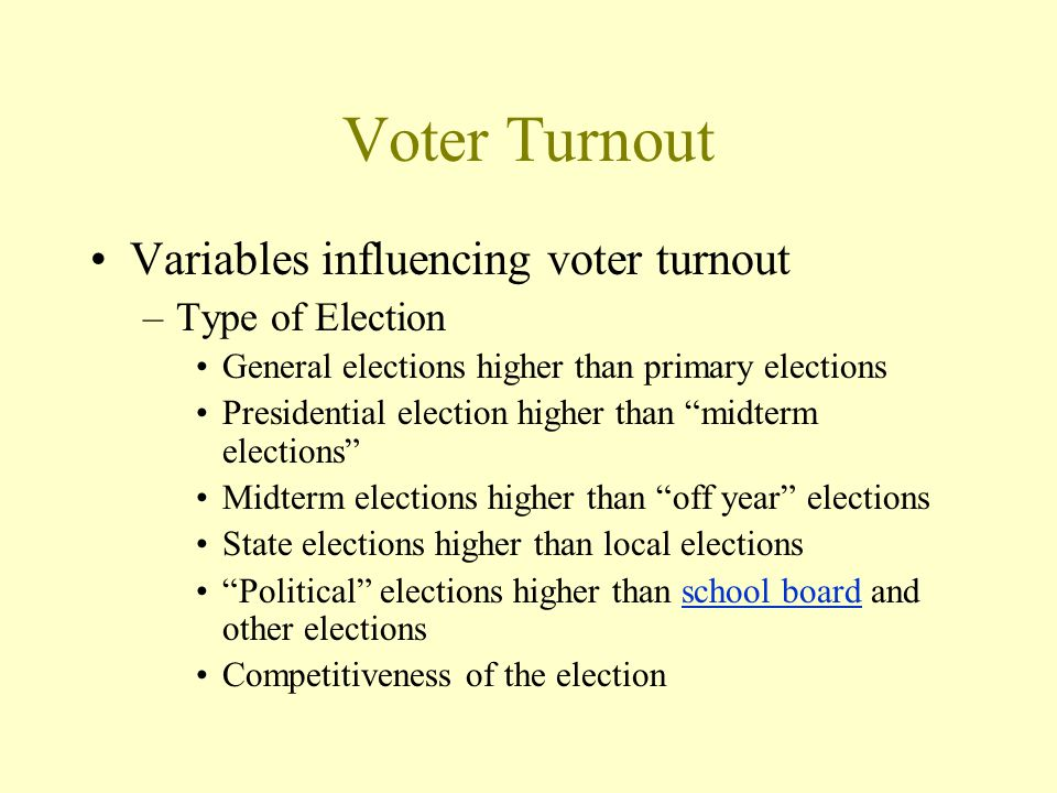 Voter Turnout Variables influencing voter turnout –Type of Election General elections higher than primary elections Presidential election higher than midterm elections Midterm elections higher than off year elections State elections higher than local elections Political elections higher than school board and other electionsschool board Competitiveness of the election