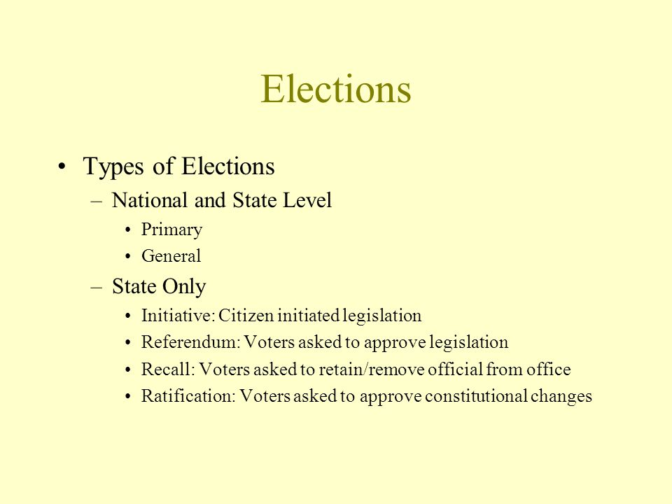 Elections Types of Elections –National and State Level Primary General –State Only Initiative: Citizen initiated legislation Referendum: Voters asked to approve legislation Recall: Voters asked to retain/remove official from office Ratification: Voters asked to approve constitutional changes