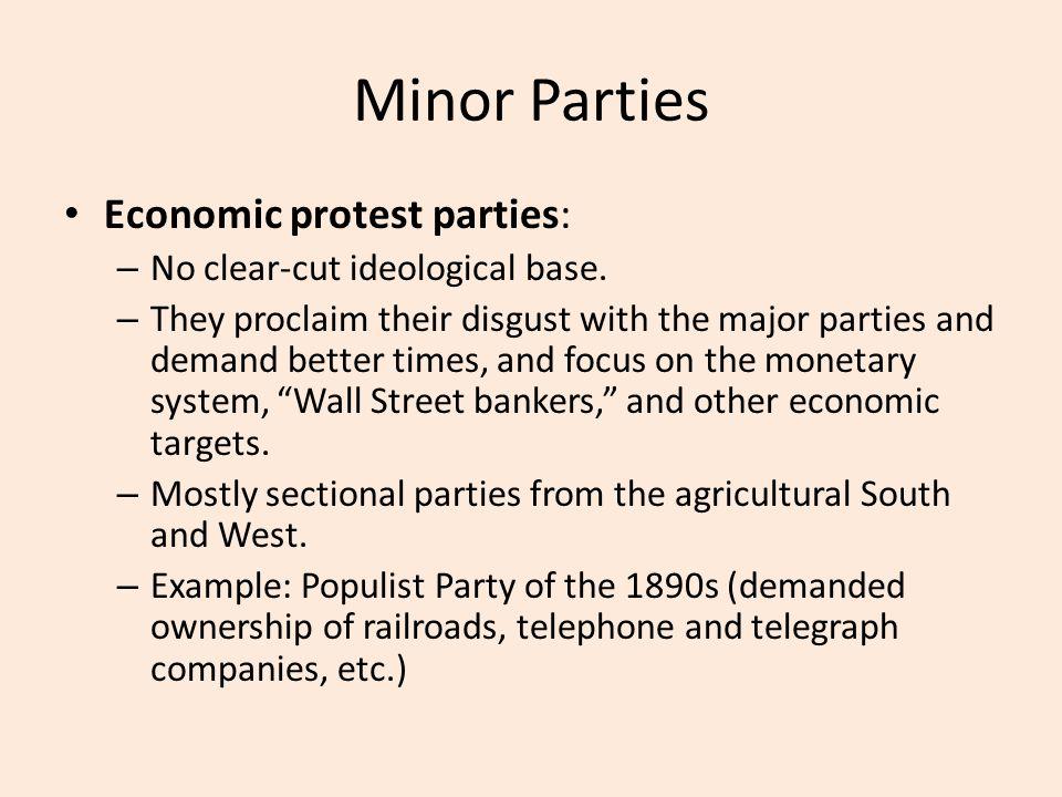 Minor Parties Economic protest parties: – No clear-cut ideological base.