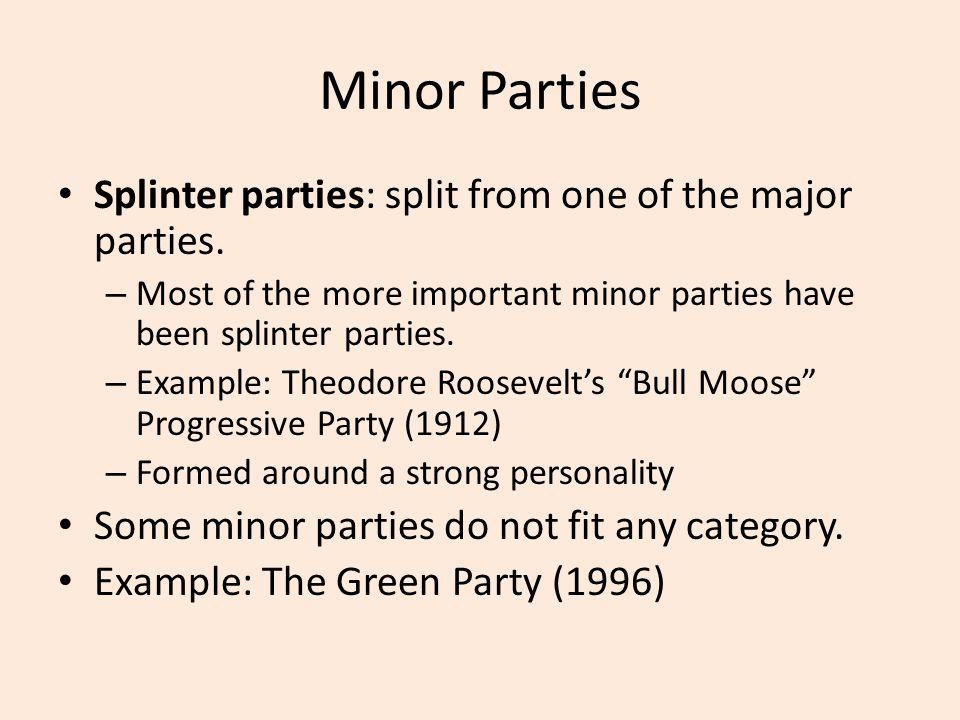 Minor Parties Splinter parties: split from one of the major parties.
