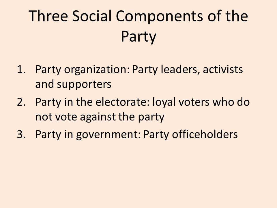 Three Social Components of the Party 1.Party organization: Party leaders, activists and supporters 2.Party in the electorate: loyal voters who do not vote against the party 3.Party in government: Party officeholders