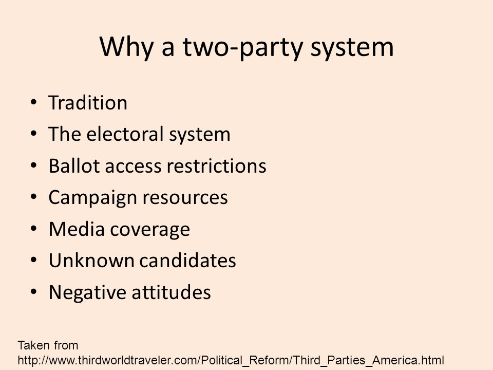 Why a two-party system Tradition The electoral system Ballot access restrictions Campaign resources Media coverage Unknown candidates Negative attitud