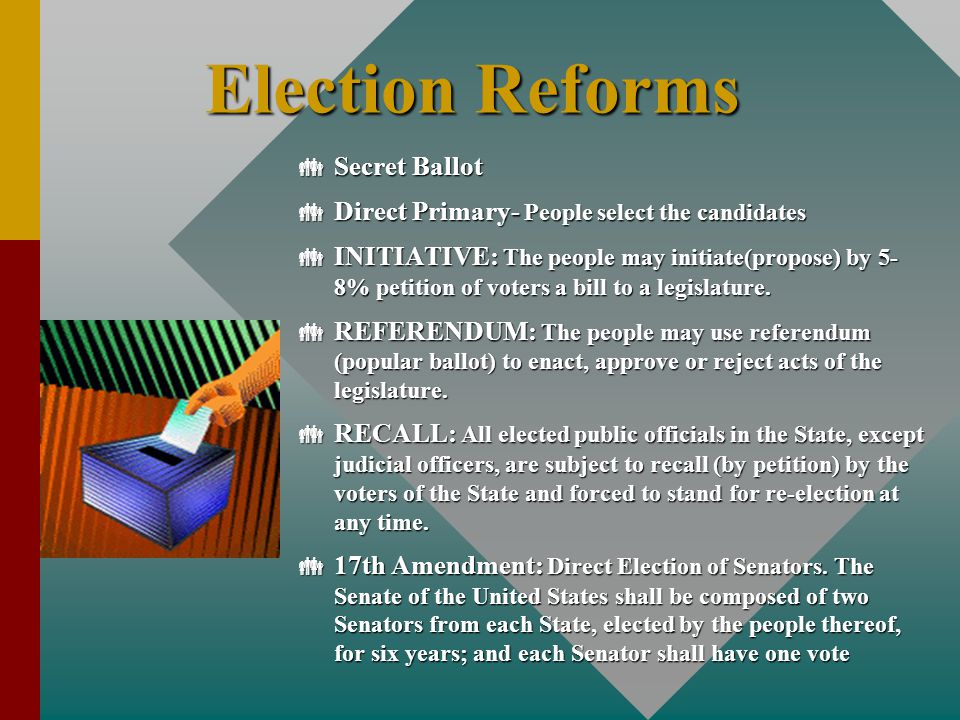 Election Reforms  Secret Ballot  Direct Primary- People select the candidates  INITIATIVE: The people may initiate(propose) by 5- 8% petition of vo