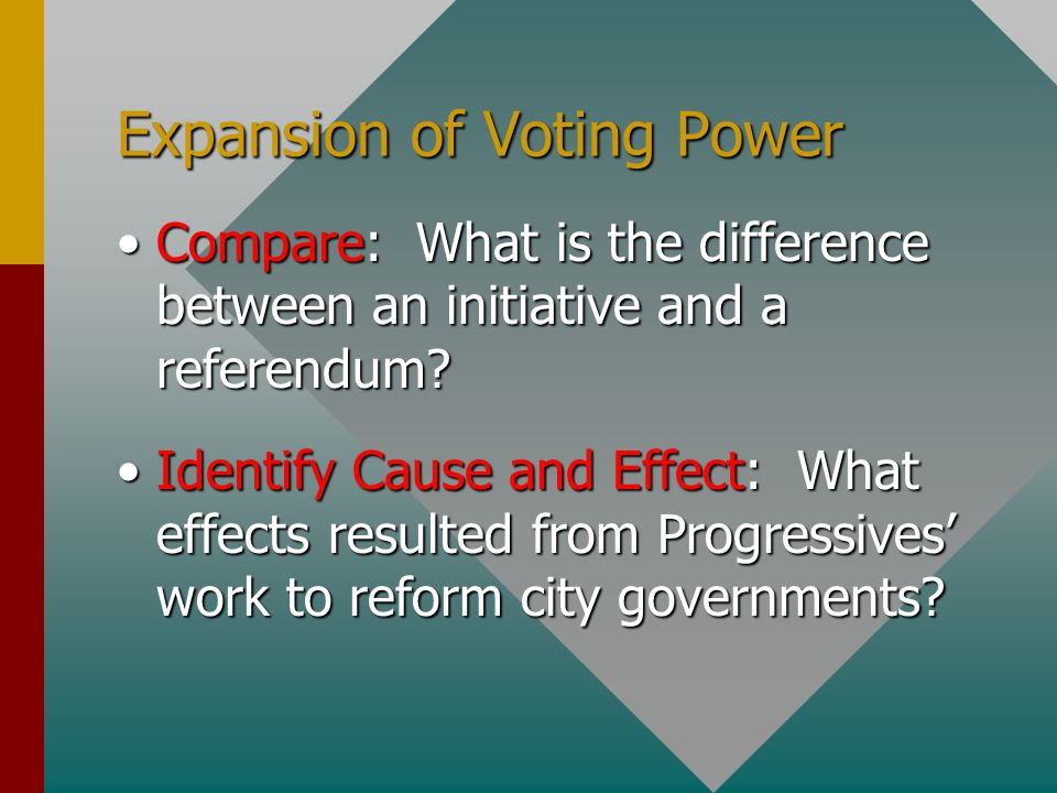 Expansion of Voting Power Compare: What is the difference between an initiative and a referendum?Compare: What is the difference between an initiative