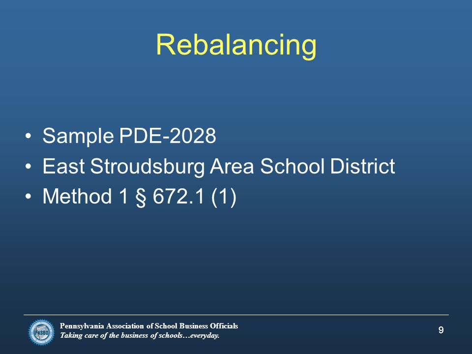 Pennsylvania Association of School Business Officials Taking care of the business of schools…everyday. 9 Rebalancing Sample PDE-2028 East Stroudsburg