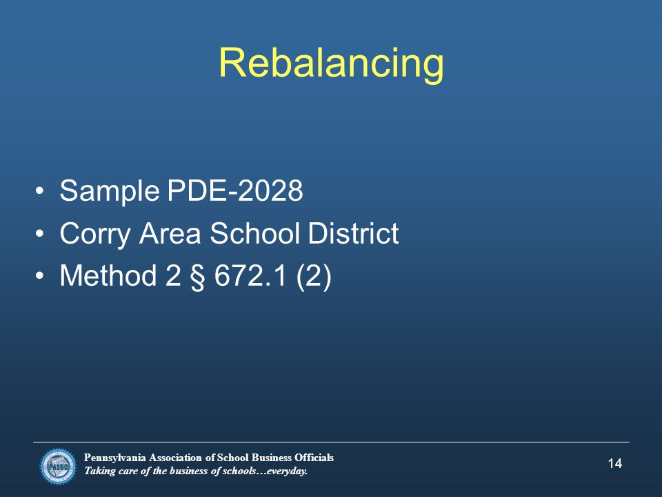 Pennsylvania Association of School Business Officials Taking care of the business of schools…everyday. 14 Rebalancing Sample PDE-2028 Corry Area Schoo