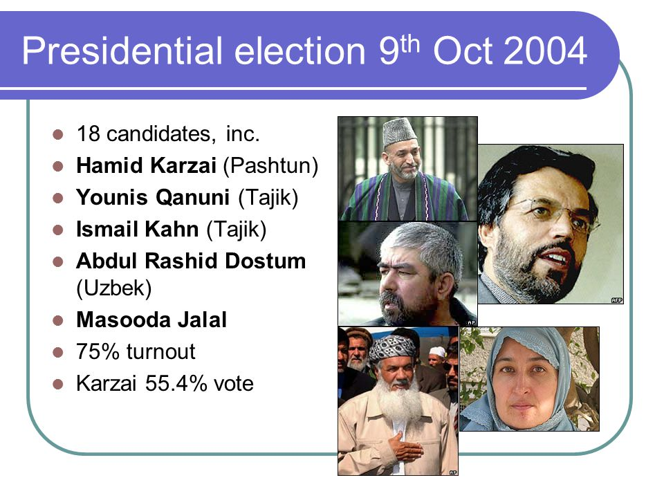 Presidential election 9 th Oct 2004 18 candidates, inc.
