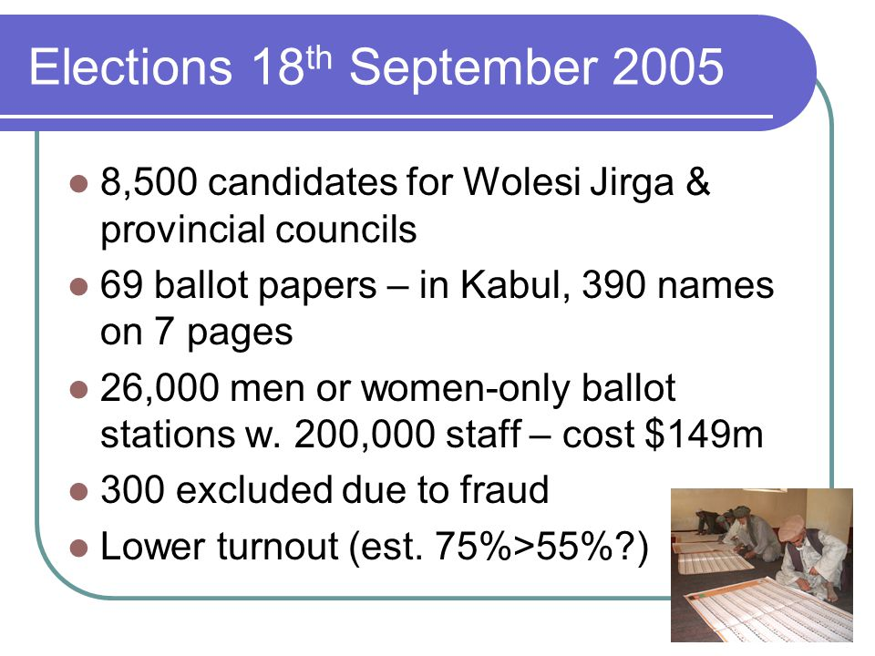Elections 18 th September 2005 8,500 candidates for Wolesi Jirga & provincial councils 69 ballot papers – in Kabul, 390 names on 7 pages 26,000 men or