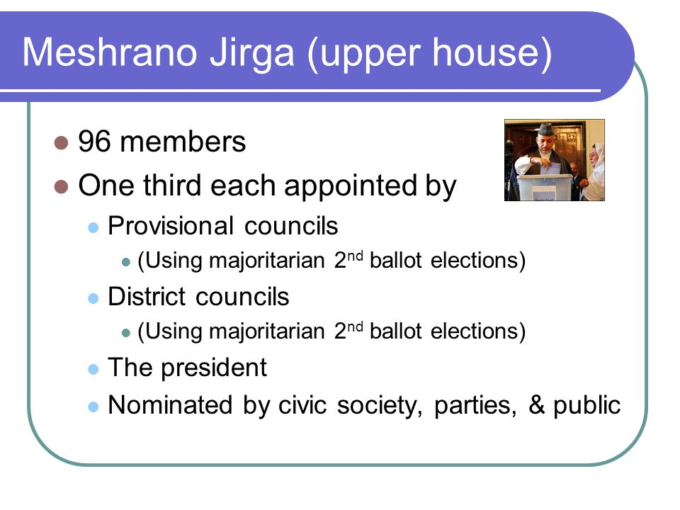 Meshrano Jirga (upper house) 96 members One third each appointed by Provisional councils (Using majoritarian 2 nd ballot elections) District councils (Using majoritarian 2 nd ballot elections) The president Nominated by civic society, parties, & public