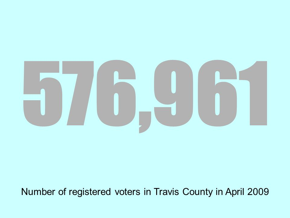 576,961 Number of registered voters in Travis County in April 2009