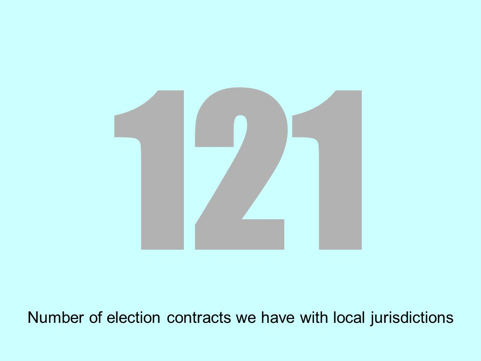121 Number of election contracts we have with local jurisdictions