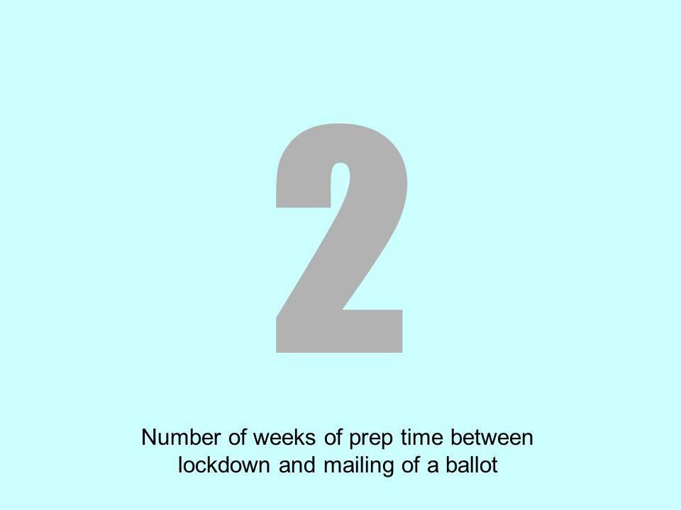 2 Number of weeks of prep time between lockdown and mailing of a ballot