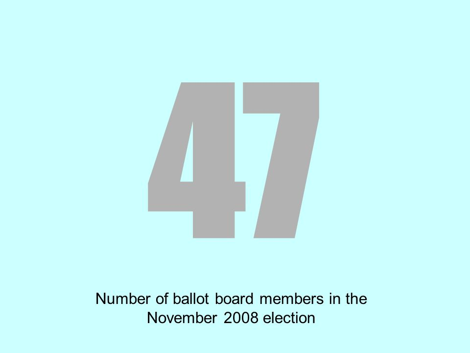 47 Number of ballot board members in the November 2008 election