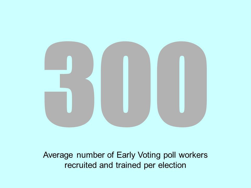 300 Average number of Early Voting poll workers recruited and trained per election