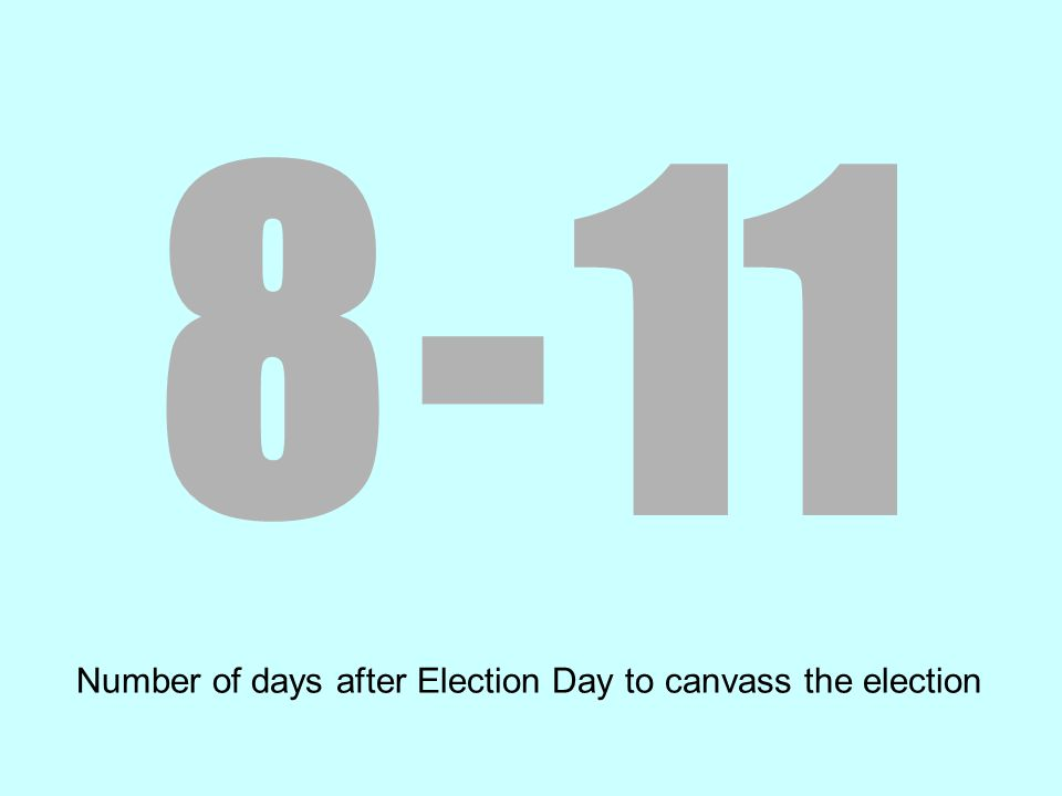 8 - 11 Number of days after Election Day to canvass the election