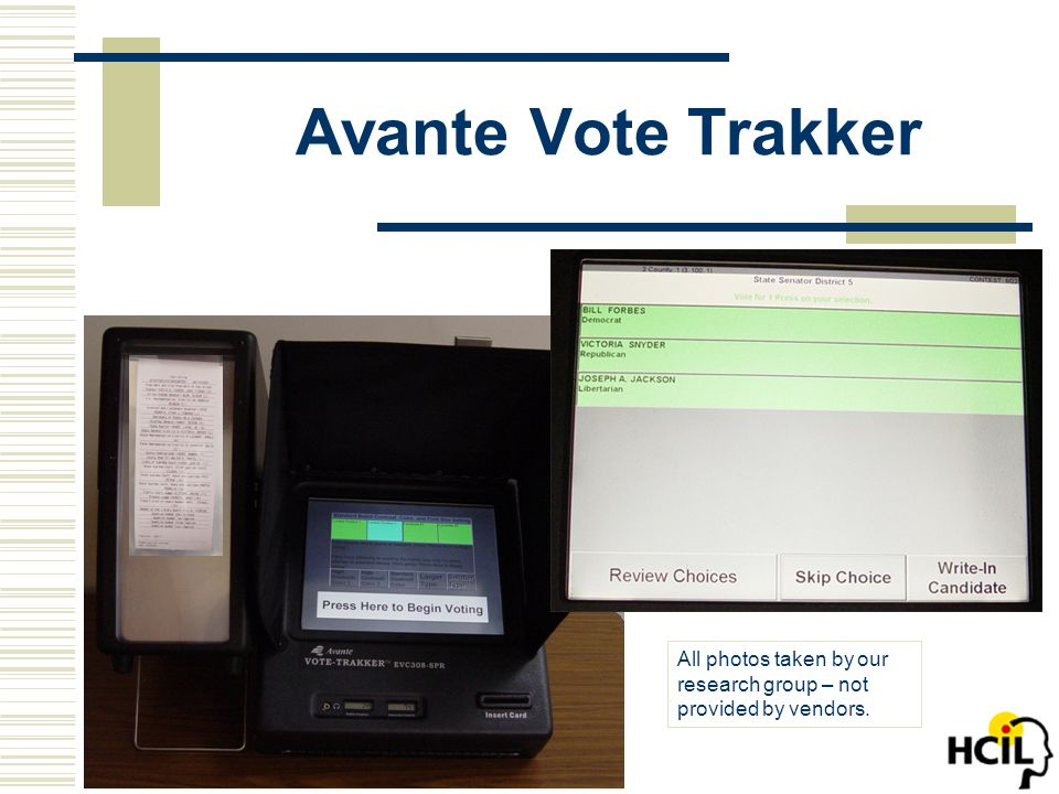 Avante Vote Trakker All photos taken by our research group – not provided by vendors.