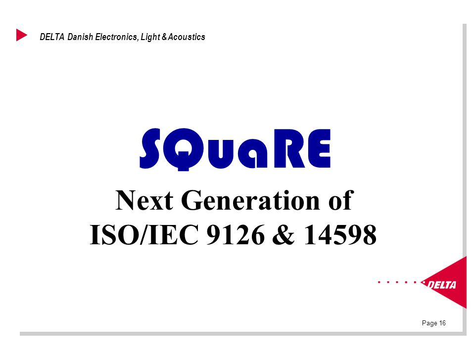 Page 16 DELTA Danish Electronics, Light & Acoustics SQuaRE Next Generation of ISO/IEC 9126 & 14598