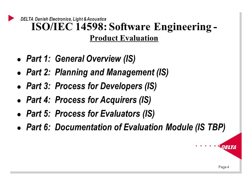 Page 4 DELTA Danish Electronics, Light & Acoustics ISO/IEC 14598: Software Engineering - Product Evaluation l Part 1: General Overview (IS) l Part 2: Planning and Management (IS) l Part 3: Process for Developers (IS) l Part 4: Process for Acquirers (IS) l Part 5: Process for Evaluators (IS) l Part 6: Documentation of Evaluation Module (IS TBP)