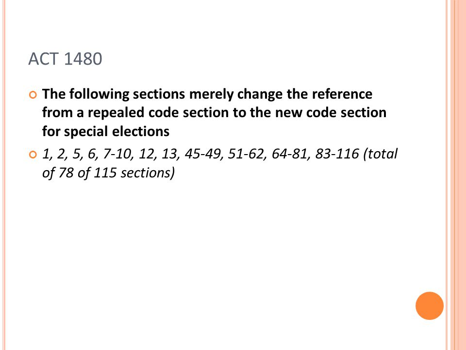 ACT 1480 The following sections merely change the reference from a repealed code section to the new code section for special elections 1, 2, 5, 6, 7-10, 12, 13, 45-49, 51-62, 64-81, 83-116 (total of 78 of 115 sections)
