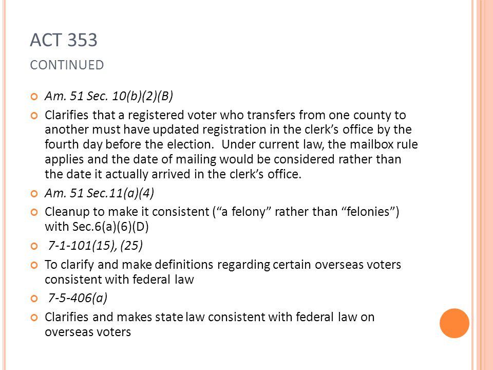 ACT 353 CONTINUED Am.51 Sec.