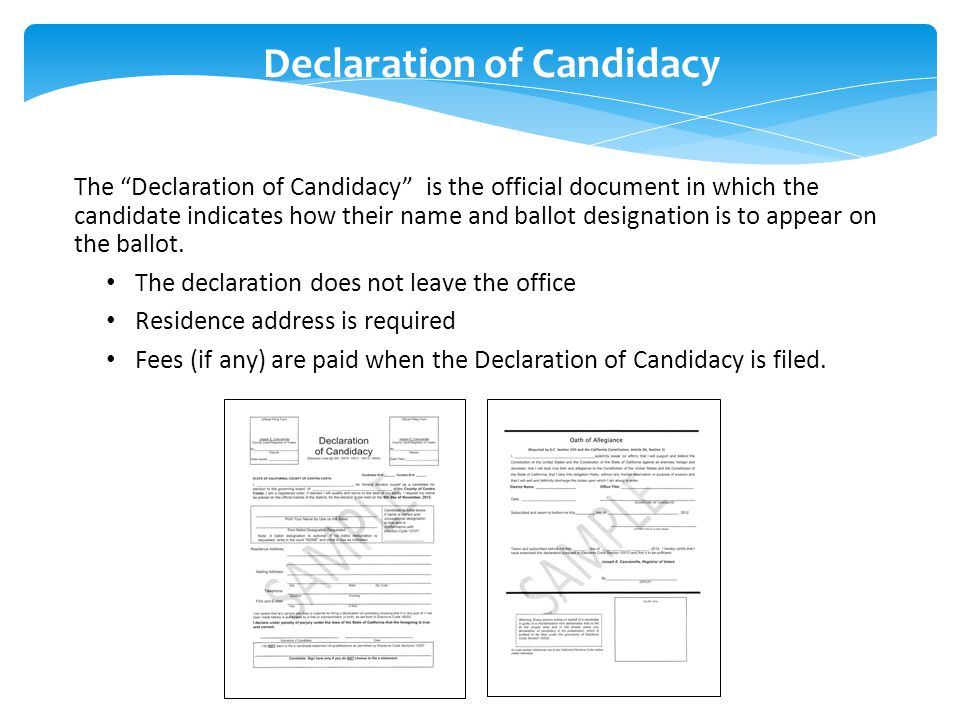 Declaration of Candidacy The Declaration of Candidacy is the official document in which the candidate indicates how their name and ballot designation is to appear on the ballot.