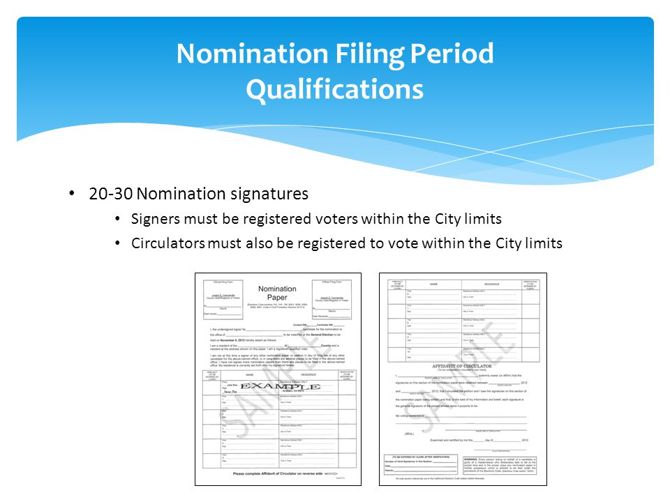 Nomination Filing Period Qualifications 20-30 Nomination signatures Signers must be registered voters within the City limits Circulators must also be