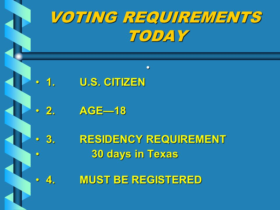 VOTING REQUIREMENTS TODAY 1.U.S. CITIZEN1. U.S. CITIZEN 2.
