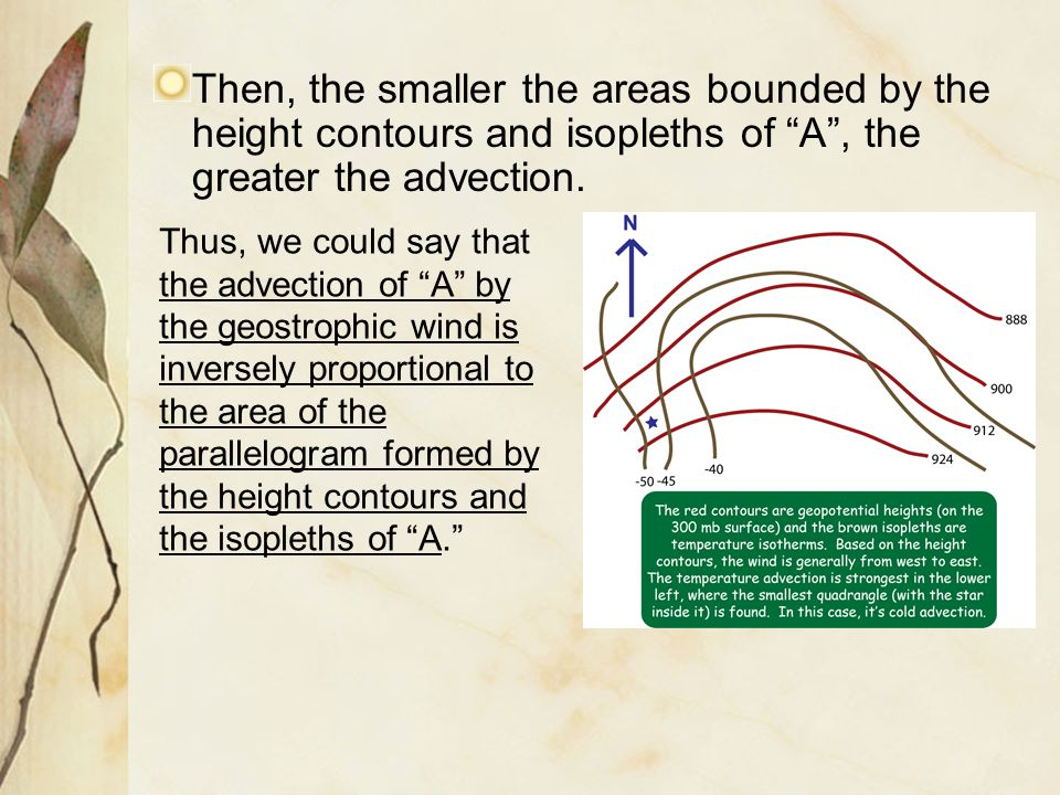 "Then, the smaller the areas bounded by the height contours and isopleths of ""A"", the greater the advection. Thus, we could say that the advection of """