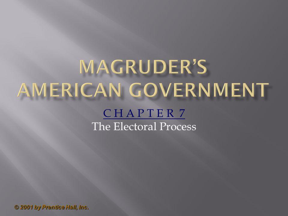 © 2001 by Prentice Hall, Inc. C H A P T E R 7 The Electoral Process