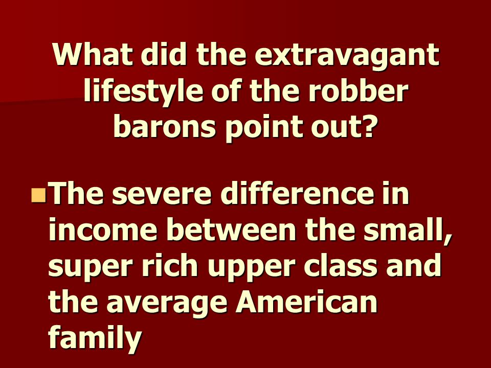 What did the extravagant lifestyle of the robber barons point out.