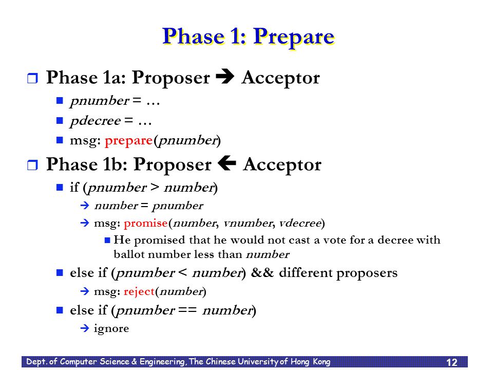 Dept. of Computer Science & Engineering, The Chinese University of Hong Kong Phase 1: Prepare  Phase 1a: Proposer  Acceptor pnumber = … pdecree = …