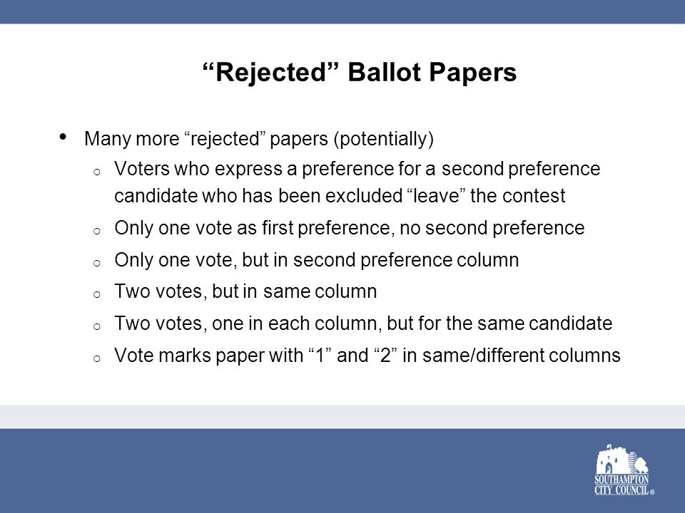 Rejected Ballot Papers Many more rejected papers (potentially)  Voters who express a preference for a second preference candidate who has been excluded leave the contest  Only one vote as first preference, no second preference  Only one vote, but in second preference column  Two votes, but in same column  Two votes, one in each column, but for the same candidate  Vote marks paper with 1 and 2 in same/different columns