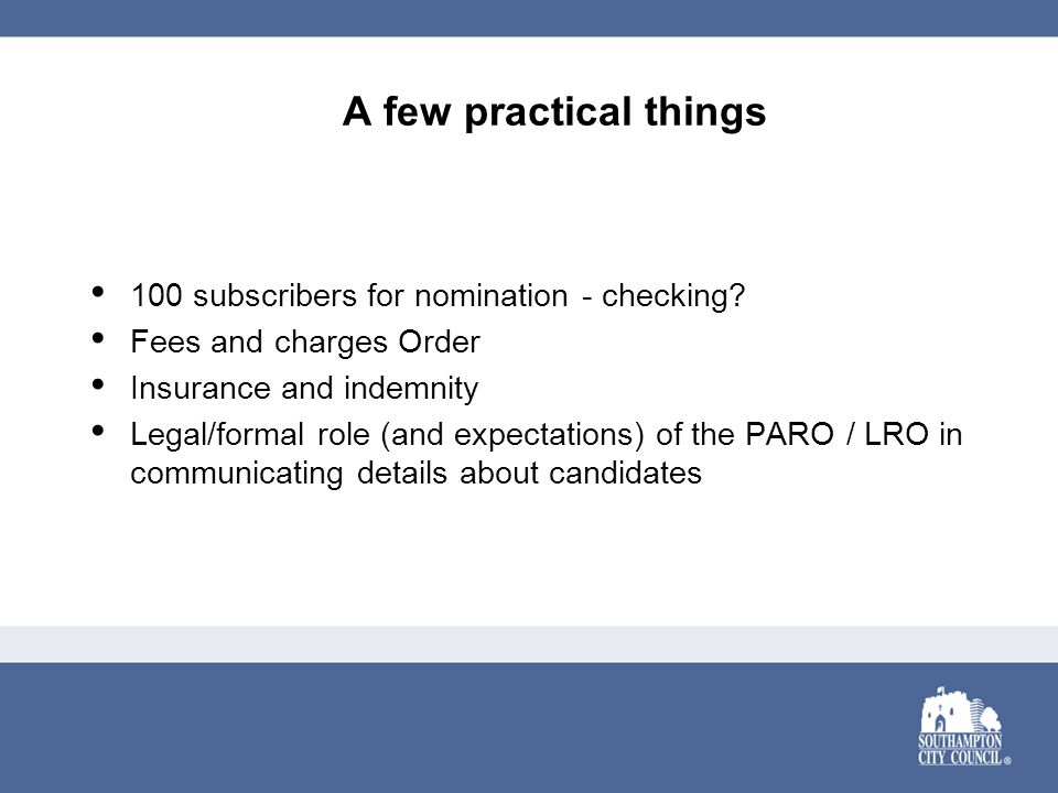 A few practical things 100 subscribers for nomination - checking.