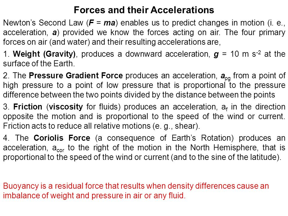 Forces and their Accelerations Newton's Second Law (F = ma) enables us to predict changes in motion (i.