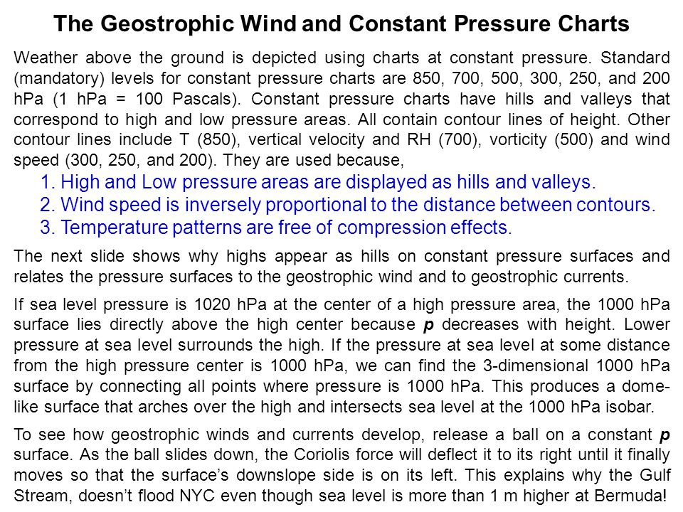 The Geostrophic Wind and Constant Pressure Charts Weather above the ground is depicted using charts at constant pressure.