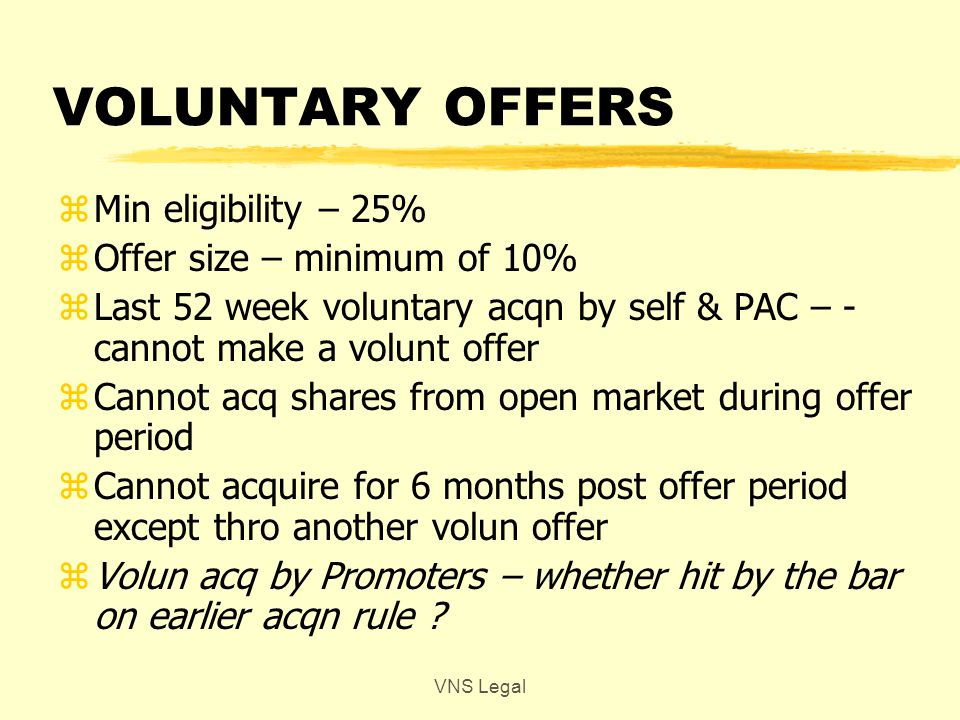 VOLUNTARY OFFERS zMin eligibility – 25% zOffer size – minimum of 10% zLast 52 week voluntary acqn by self & PAC – - cannot make a volunt offer zCannot acq shares from open market during offer period zCannot acquire for 6 months post offer period except thro another volun offer zVolun acq by Promoters – whether hit by the bar on earlier acqn rule .