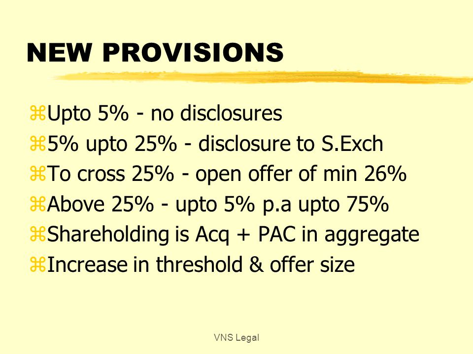 RECENT CHANGES – PROCESS & PROCEDURE zPublic Announcement – on the date of acqn / agreeing to acquire.