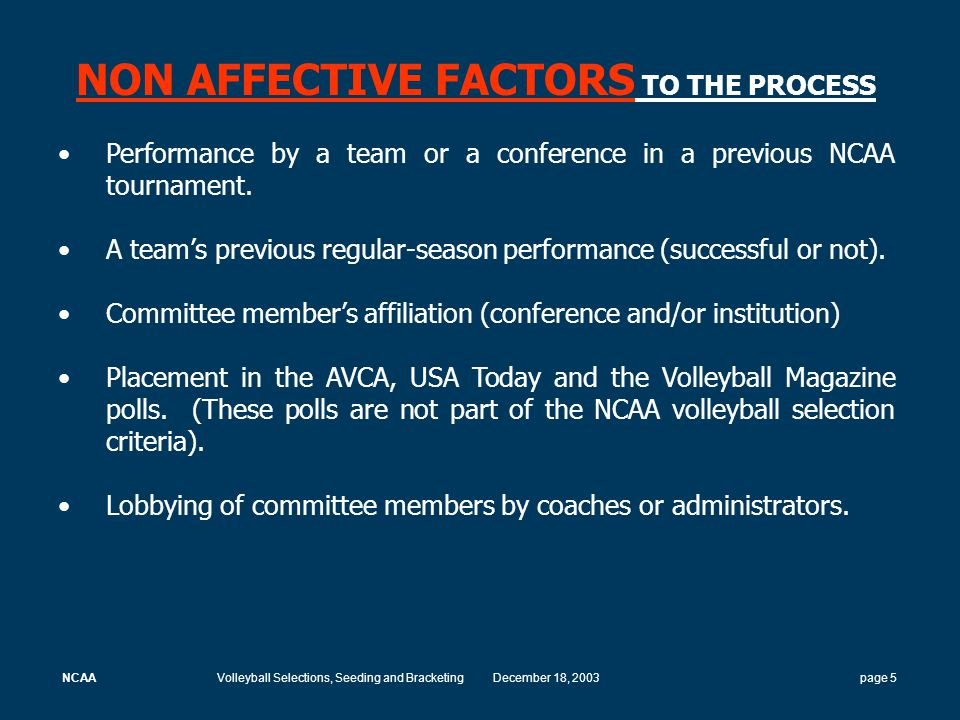 NCAAVolleyball Selections, Seeding and BracketingDecember 18, 2003 page 16 Criteria For Selecting At-Large Teams The committee considers the following criteria: Win-loss record (must have overall W-L above.500).