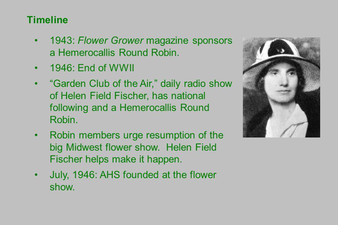 Timeline 1943: Flower Grower magazine sponsors a Hemerocallis Round Robin.