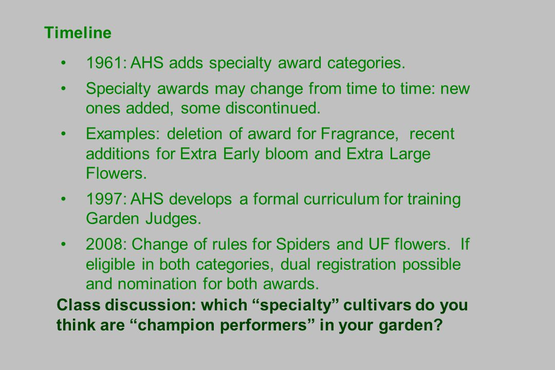 Timeline 1961: AHS adds specialty award categories.
