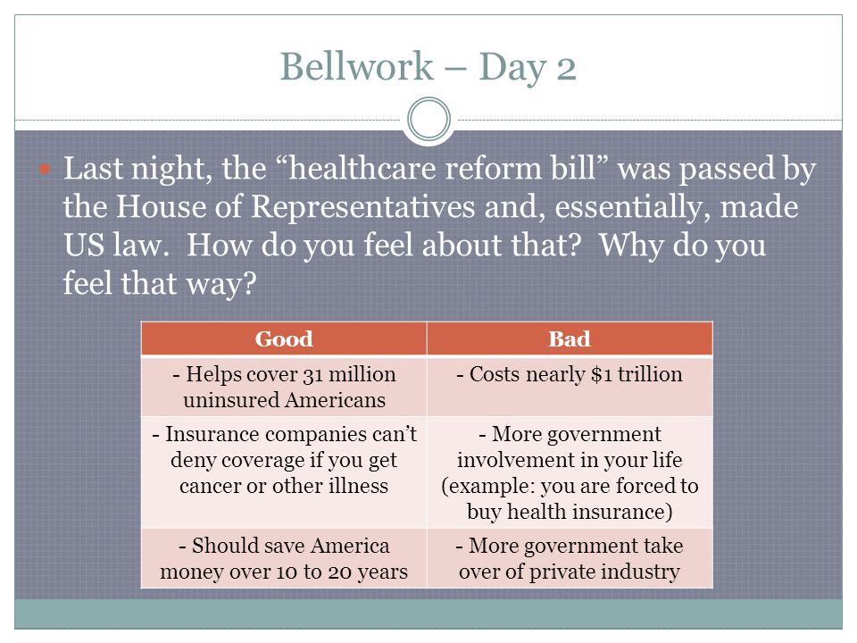 Bellwork – Day 2 Last night, the healthcare reform bill was passed by the House of Representatives and, essentially, made US law.