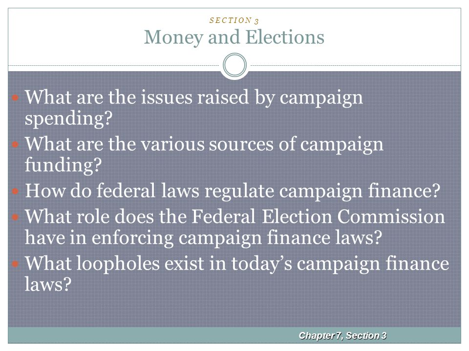 Chapter 7, Section 3 S E C T I O N 3 Money and Elections What are the issues raised by campaign spending.
