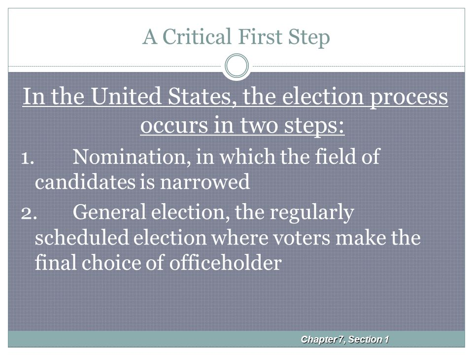 A Critical First Step In the United States, the election process occurs in two steps: 1.