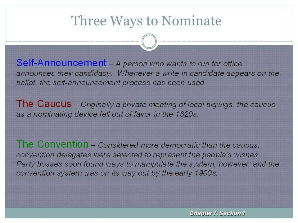 The Direct Primary Nonpartisan Primary Candidates are not identified by party labels Runoff Primary If a required majority is not met, the two people with the most votes run again Closed Primary Only declared party members can vote.