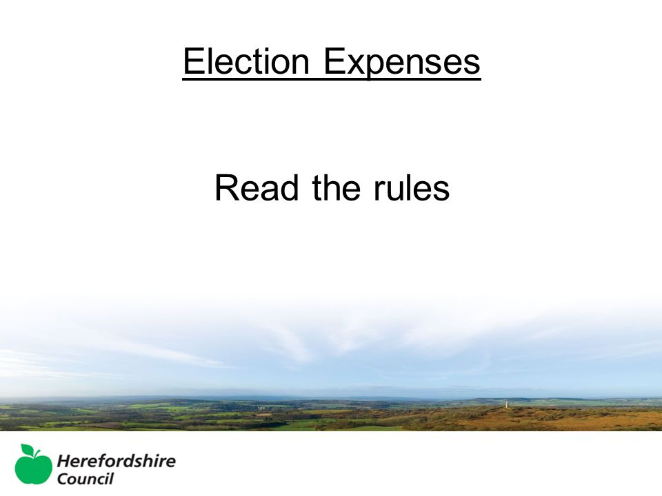 Election Expenses Read the rules