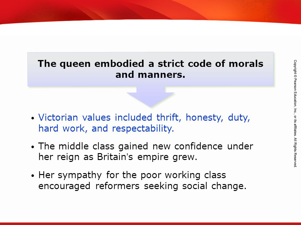 TEKS 8C: Calculate percent composition and empirical and molecular formulas. The queen embodied a strict code of morals and manners. Victorian values