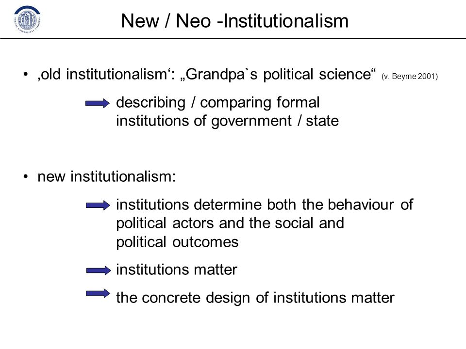 "New / Neo -Institutionalism 'old institutionalism': ""Grandpa`s political science (v."