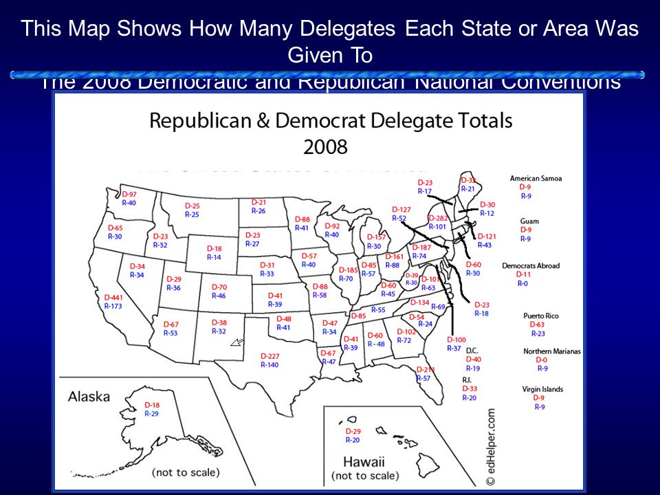 This Map Shows How Many Delegates Each State or Area Was Given To The 2008 Democratic and Republican National Conventions