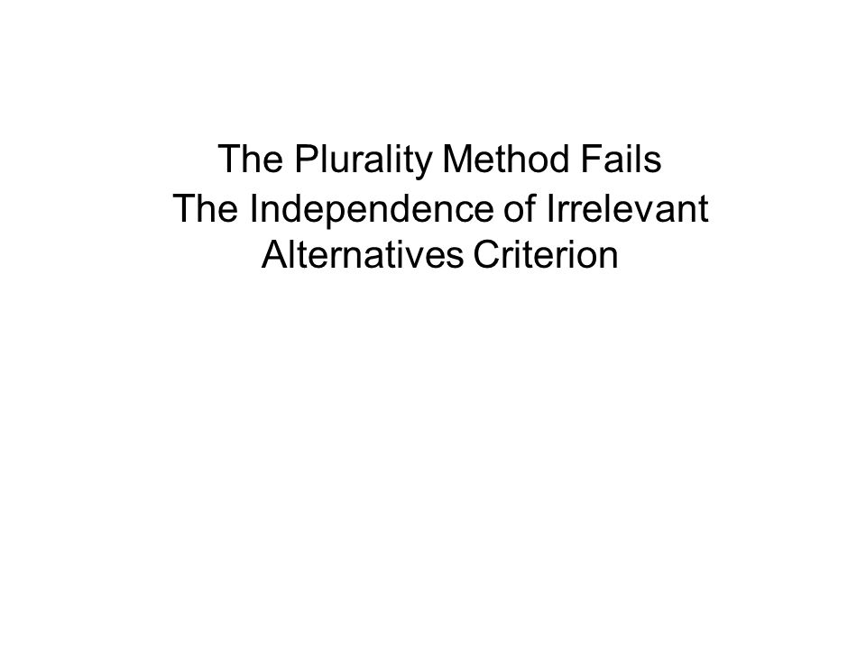 The Plurality Method Fails The Independence of Irrelevant Alternatives Criterion